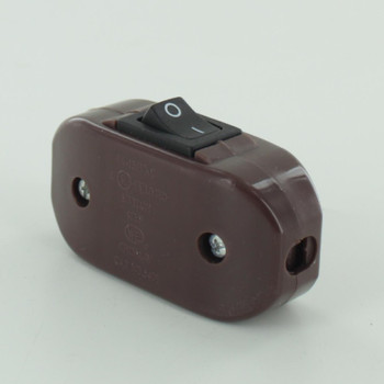 Single Pole Rocker Switch with Screw Terminal Wire Connections - Brown