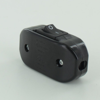Single Pole Rocker Switch with Screw Terminal Wire Connections - Black