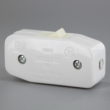 Single Pole Rocker Switch for SPT and SVT Wire - White