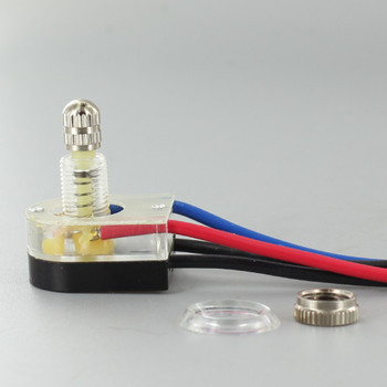 3/8in. Shank On-Off Lighted Rotary Switch with 6in. Wire Leads - Nickel Plated
