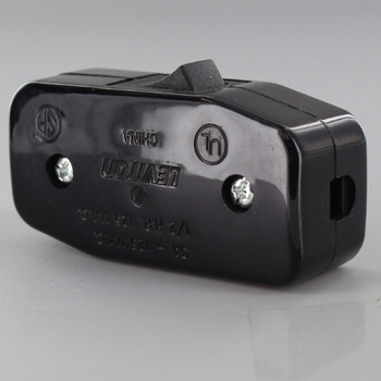 Single Pole Rocker Switch for SPT and SVT Wire - Black