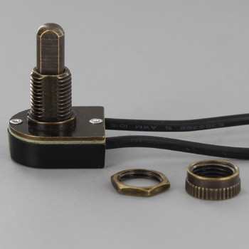 3/8 in. Shank Push Button On/Off Switch - Antique Brass