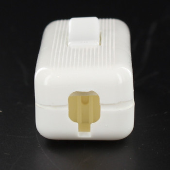 European Style In-Line Toggle Switch for Flat or Round Wire - White
