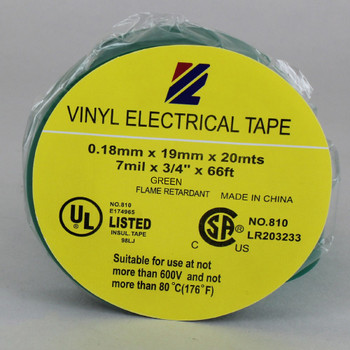 60ft Long Roll - 3/4in. Wide Thermoplastic PVC Insulating Tape - Green