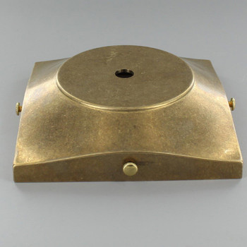 5in Screw Less Face Mount Cast Brass Square Canopy/Backplate - Unfinished Brass