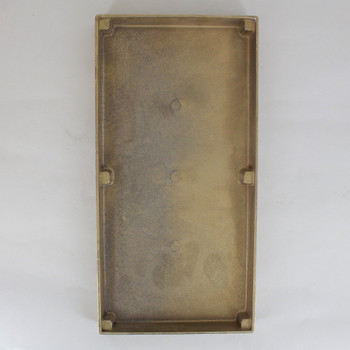 9-13/16in L x 4-3/4in W x 1in DEEP UNFINISHED CAST BRASS RECTANGLE BACKPLATE / CANOPY.