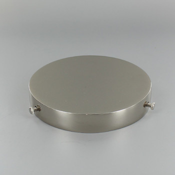 4-3/4in Screw Less Face Mount Cast Brass Round Blank Canopy/Backplate - Polished Nickel