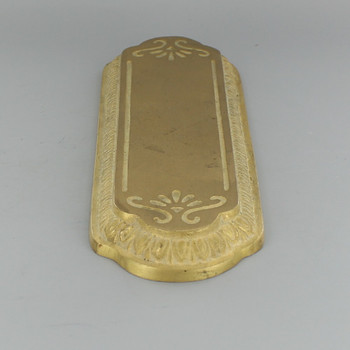 Decorated Flat Face Cast Brass Backplate with No Hole - Unfinished Brass