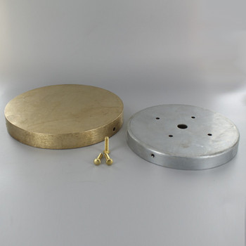 6-1/4in Screw Less Face Mount Cast Brass Round Blank Canopy/Backplate - Unfinished Brass