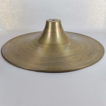 1/8ips Center Hole - 16in (407mm) Spun Brass Vase Cover - Unfinished Brass