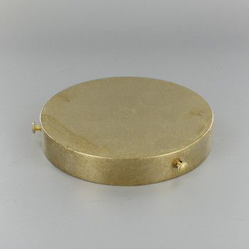 4-3/4in Screw Less Face Mount Cast Brass Round Blank Canopy/Backplate - Unfinished Brass