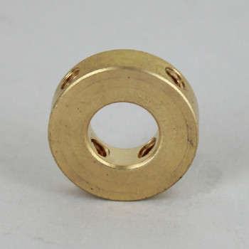 1/8ips Slip Shade Spider with (4) 8/32 Threaded Side Holes - Unfinished Brass