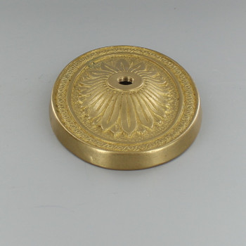 Starburst Design Cast Brass  Backplate with 1/8ips Threaded Hole.
