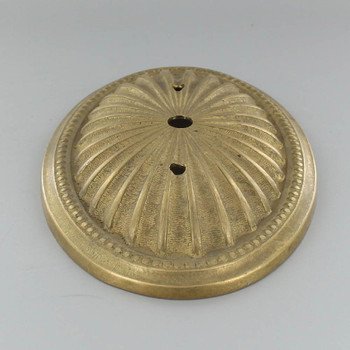 2-3/4in Bar Holes - Cast Starburst Backplate/Canopy - Unfinished Brass