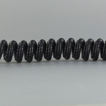 6ft. Black 18/3 Coil Cord with Metal Support Coil