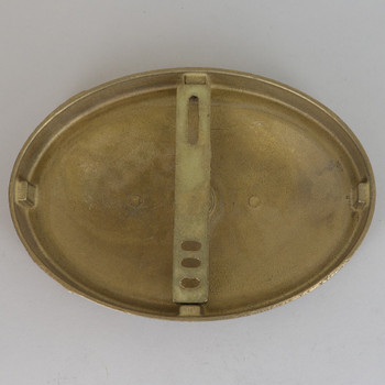5in Screw less Face Mount Cast Brass Oval Backplate/Canopy - Unfinished Brass