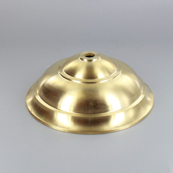 1/8ips Center Hole - 140mm(5-1/2in) Cast Tapered Canopy - Unfinished Brass