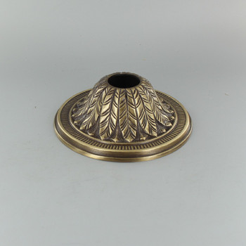 1-1/16in Center Hole - Cast Brass Deep Leaf Canopy - Antique Brass Finish