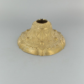 1-1/16in Center Hole - Cast Brass Deep Flower Canopy - Unfinished Brass