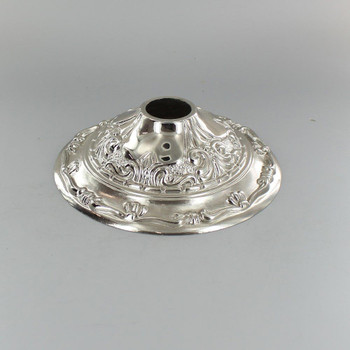 1-1/16in Center Hole - Cast Brass Victorian Canopy - Nickel Plated Finish