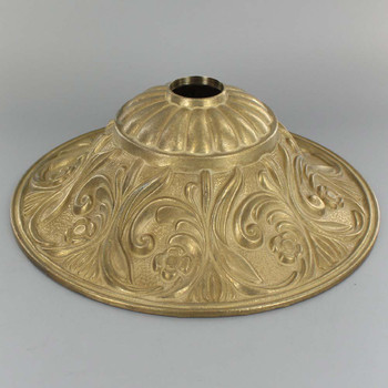 1-1/16in Center Hole - Cast Brass Deep Floral Canopy - Unfinished Brass