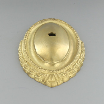 Crested Design Cast Brass Backplate with 1/8ips Slip Center Hole