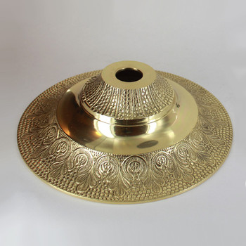 1-1/16in Center Hole - Medium Cast Brass Indian Canopy - Polished Brass Finish