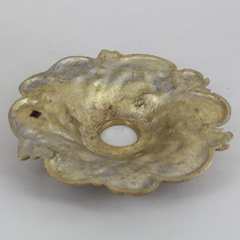 1-1/16in Center Hole - Cast Brass Swirl Canopy - Unfinished Brass