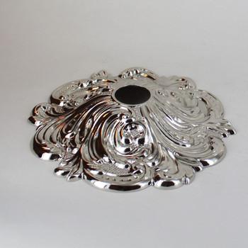 1-1/16in Center Hole - Cast Brass Swirl Canopy - Polished Nickel Finish