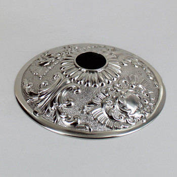 1-1/16in Center Hole - Cast Brass Rococo Canopy - Nickel Plated Finish