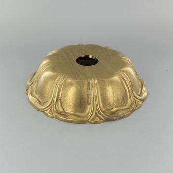 1-1/16in Center Hole - Cast Brass Petal Canopy - Unfinished Brass