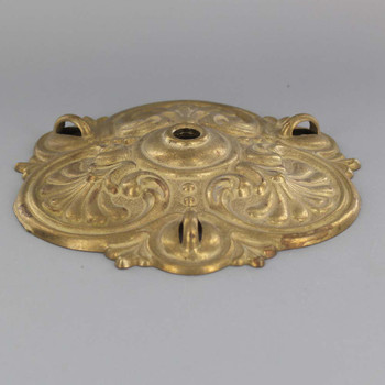 5-1/2in 3 Loop Cast Brass Molded Shell Canopy - Unfinished Brass