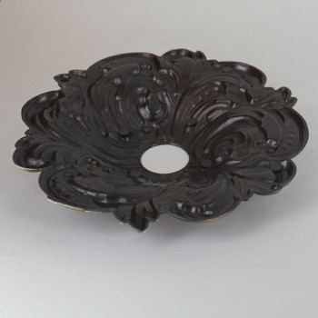 1-1/16in Center Hole - Cast Brass Swirl Canopy - Antique Brass Finish