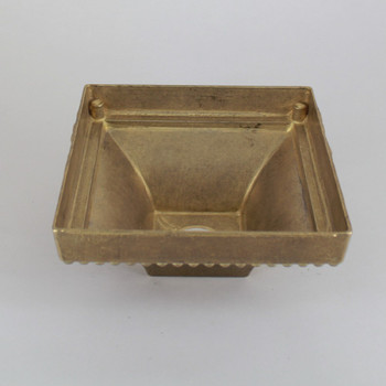 1-1/16in Center Hole - Large Cast Brass Square Beaded Canopy - Unfinished Brass