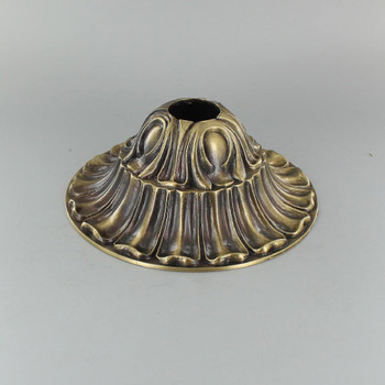 1-1/16in Center Hole - Deep Cast Brass Crested Canopy - Antique Brass Finish
