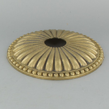 1-1/16in Center Hole - Cast Brass Ribbed and Beaded Canopy - Unfinished Brass
