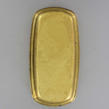 Butter Dish Style Stamped Backplate with No Holes - Unfinished Brass
