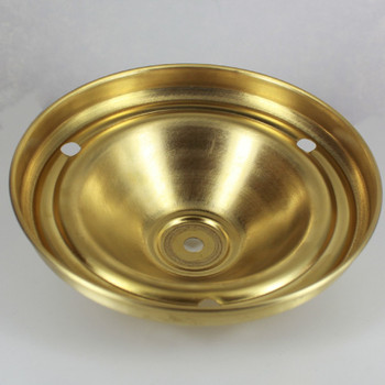 1/8ips Center Hole - Spun Deep Canopy with (3) 1/8ips  Side Holes - Unfinished Brass