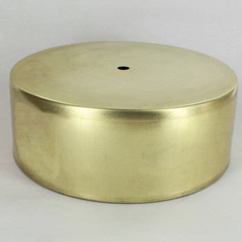 1/8ips Center Hole - Deep 7-1/2in Flat Canopy/Base - Unfinished Brass