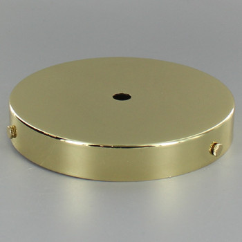 5in Screw Less Face Mount Steel Round Canopy - Brass Plated Finish