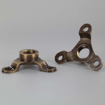 Antique Brass Finish Cast Brass Flange with 3/8ips. Threaded Center Hole