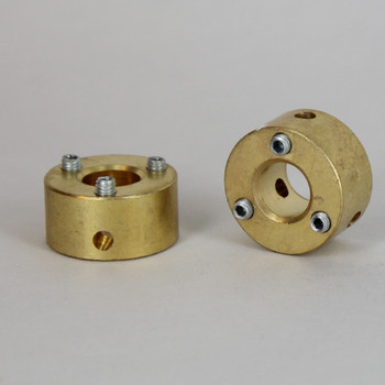 Unfinished Brass 3 Hole Spider Washer with Set Screws and 1/8ips. Slip Through Center Hole