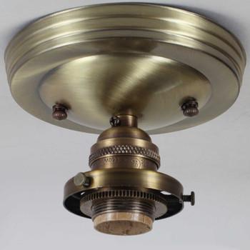 2-1/4in Uno Type E-26 Edison Flush Fixture - Antique Brass