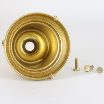 2-11/16in. Wide Steel Bell Holder with Screws and pressed in grommets - Unfinished Brass
