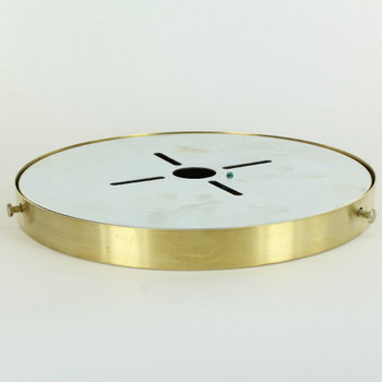 8in Diameter Screw Less Face Mount Steel Round Canopy - Unfinished Brass