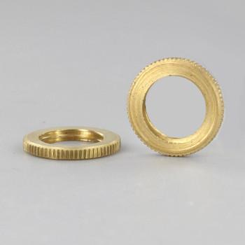 3/4in Diameter - 1/4ips Threaded Knurled Flat Brass Nut