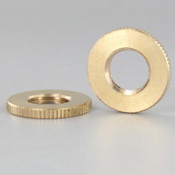 1in Diameter - 1/4ips Threaded Knurled Flat Brass Nut