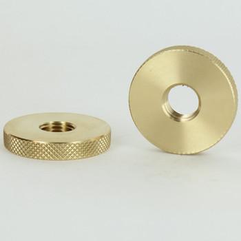 1-1/2in Diameter - 1/4ips Threaded Diamond Knurled Round Brass Nut