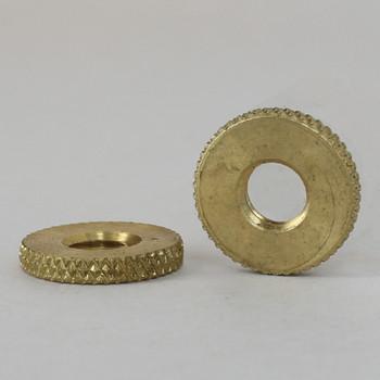 9/16in Diameter -  1/4-27 Threaded Knurled Brass Round Lock Nut