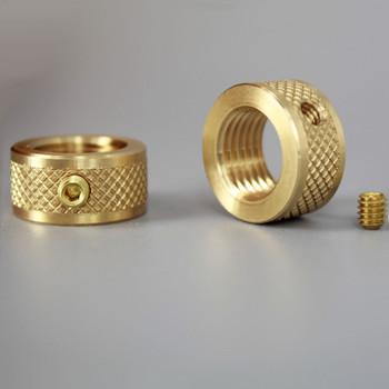 1/4-18 ips Diamond Knurled Round Locknut with Set-Screw - Unfinished Brass